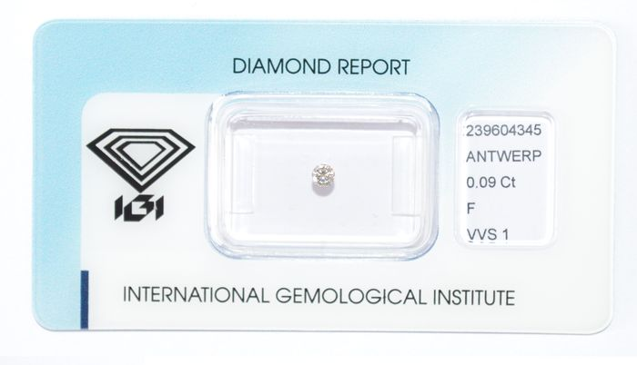 0.09 ct brilliant cut diamond, F, VVS1