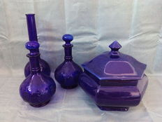 Cobalt Blue Set of two Bottles with Stopper, a Cookie Jar and a Vase