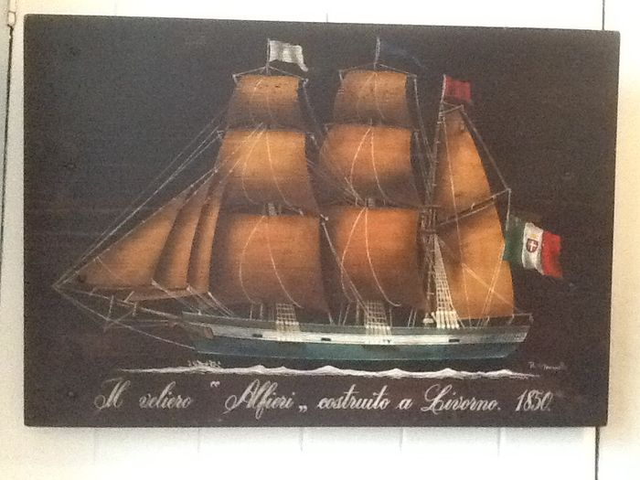 "Large wooden wall decoration depicting the ship ""Alfieri"", by R. Simonetto"