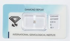 Brilliant cut diamond, 0.09 ct, G, VS1.