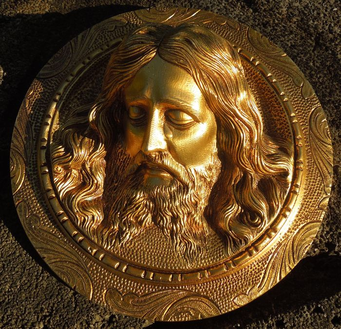 Face of Christ, Gilded Bronze - 19th Century