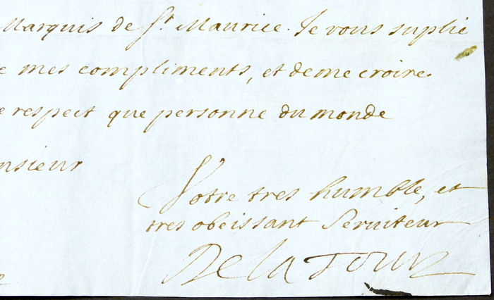 Autograph Original Letter Written By The Count De La Tour