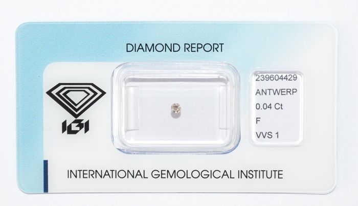 Diamante a taglio brillante 0,04 ct, F VVS 1