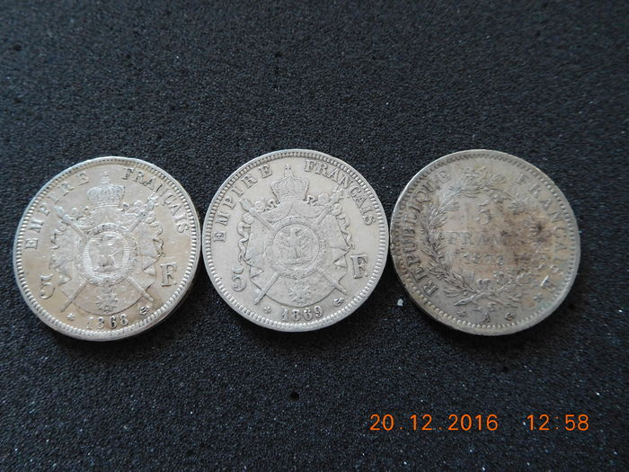 France – 5 francs 1868 BB / 1869 BB  / 1873 A – 3 pieces
