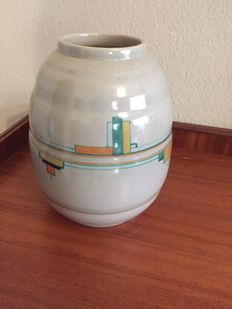 "Kennemer pottery, Velsen KTP Holland-earthenware vase with ""De Stijl"" ornaments"