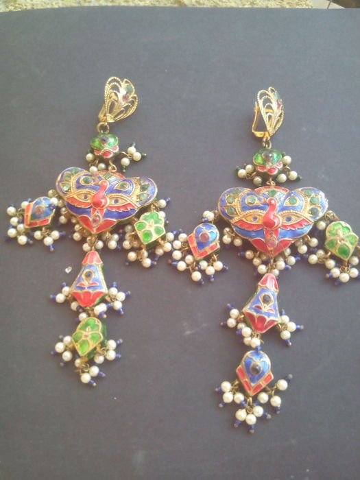 Stunning enamel earrings with