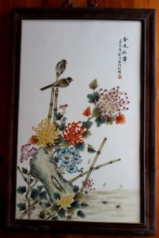 Chinese porcelaine painting with a pair of birds on bamboo, decorative - China - 2nd half of the 20th century