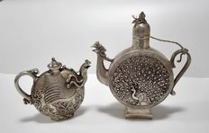 Two wine jugs from Cupronickel - China - late 20th century