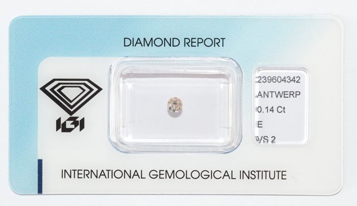 Diamante a taglio brillante da 0,14 ct, E, VS2