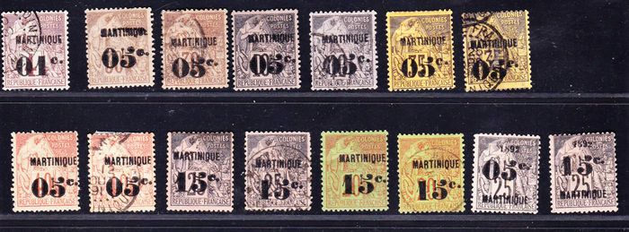 Martinique French Ex-Colonies 1896/1891 - Collection of 15 stamps between Yvert no. 7 and 30