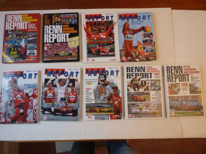 Nine Yearbooks Autosport - RENNREPORT - 1993/1994, and 1996 to 2002.