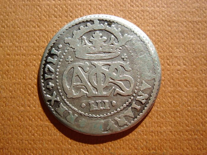 Spain – Carlos III, archduke of Austria (1701–1714), two reals silver coin Barcelona, 1711.