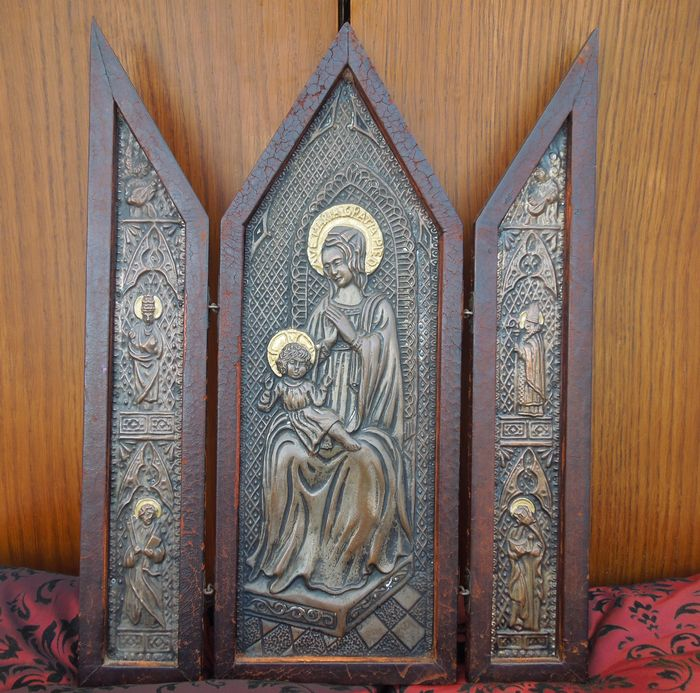 Religious Triptych Altarpiece - 19th Century
