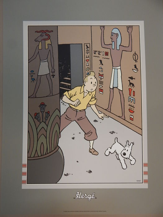 Hergé - Zeefdruk Archives Internationales - Tintin - Les cigares du Pharaon - (1990)