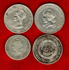 Brazil – 1000 reis (1907) y 500 reis (three coins:  1857, 1889 y 1907). Lot of four silver coins. (4).