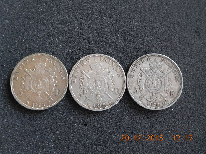 France – 5 francs 1868 A / 1869 BB / 1870 A  – 3 pieces