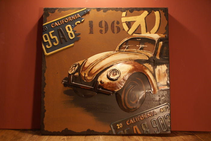 VW Beetle, tin 3D painting - handmade 48 x 48 cm