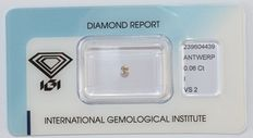0.06 ct briljant geslepen diamant, I, VS2