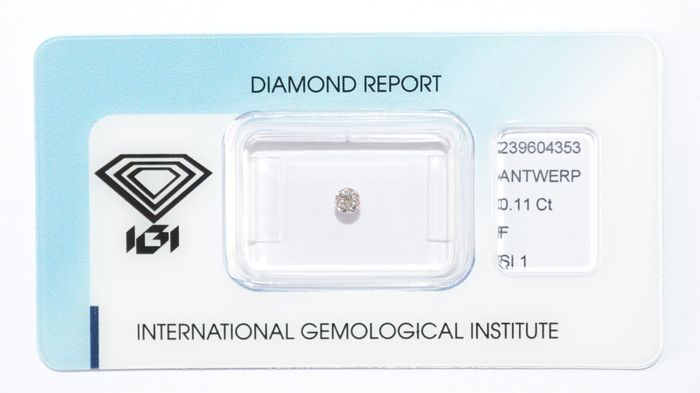 0.11 ct brilliant cut diamond, F, SI1