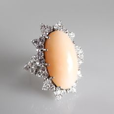 White gold cocktail ring with angel skin coral