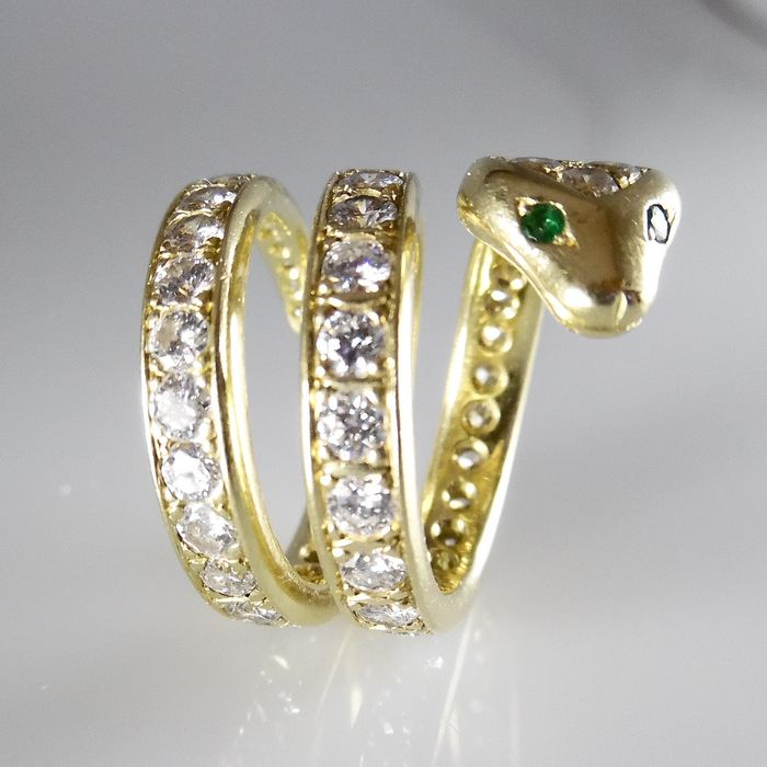 Anello a serpente in oro giallo 18 kt con 5,00 ct di diamanti a taglio brillante Wesselton VS-SI