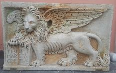 Lion of Saint Mark with an open Bible - marble high-relief - Verdello, Trieste, Italy - 19th C