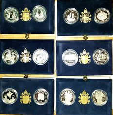 "Vatican City – 10,000 Lire Diptychs from 1995 to 2000 – ""Towards Holy Year 2000"" in a collector's case – 12 silver coins"