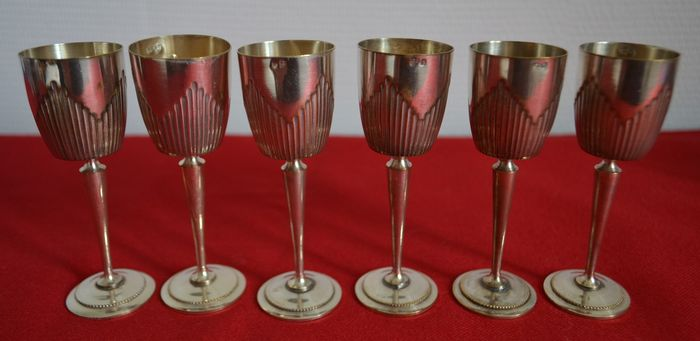 6 small silver plated chalices for wine, 2 hallmarks - France - 1886