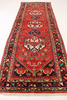 Old Persian rug Malayer, 110 x 315 cm made in Iran around 1950 natural colours