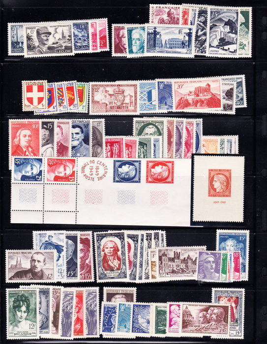 France 1945/1954 - Lot of stamps, Yvert no. 682-1011