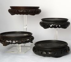 7 openwork wooden pedestals – China – second half 20th century