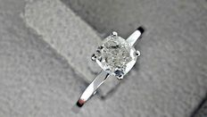 1.00 ct cushion diamond ring made of 14 kt white gold *** no reserve price ***