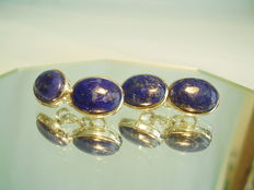 Double cufflinks with lapis lazuli cabochons