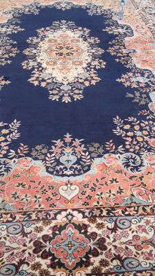 Incredible Kerman Lavar carpet, very large, hand-knotted - rare - originating from Iran - 470 × 300 cm or 14.10 m²