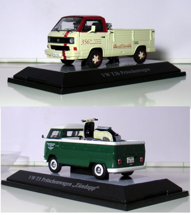 Premium ClassiXXs - Scale 1/43 - Lot with 2 models:  VW T1 pickup (Zündapp) and VW T3b Pickup Porsche service van