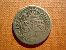 Spain – Carlos III, archduke of Austria (1701–1714), two reals silver coin. Barcelona, 1713. Extremely rare.