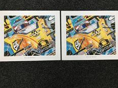 Eric Jan Kremer - 3x Art Prints - 2x Alonso - 1x Ferrari Schumacher - 60x50 cm per piece