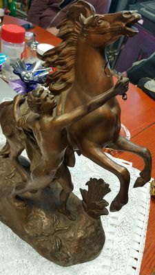A zamac statue: horse with man, 20th century