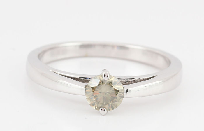 14k gold olive-green diamond solitaire ring total 0.41ct - 52 (EU)