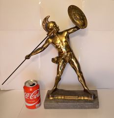 Gilt bronze statue of a spear-throwing Achilles on marble base. Mid 20th century.