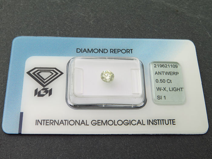1 Diamond - 0.50 ct - Brilliant - Other - Yellow - SI1