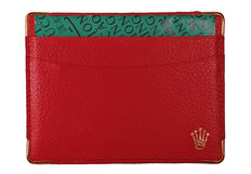 Rolex guarantee/document holder in red leather