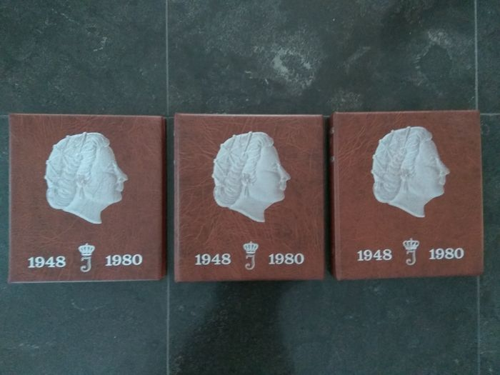 The Netherlands – 1 cent up to and including 2½ guilders, 1950/1980, Juliana complete, excluding silver, in 3 albums.