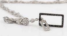 Sterling silver black and white diamond necklace total 0.20ct. - lenght 41.00cm - ***No Reserve Price***