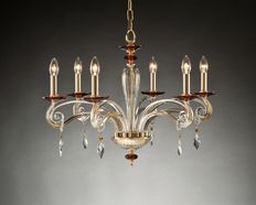 Chandelier with six lights with Swarovski Asfour glassware, recently built