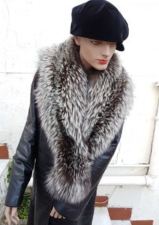 Extra large wrap—Silver Fox Fur—Made in Italy