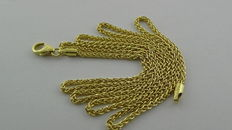 14 kt gold foxtail necklace, 6.25 grams