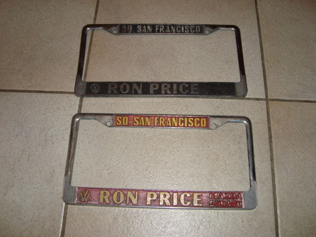 2 Ron Price VW / Mazda / Subaru Metal License Plate Frame - 1950-60