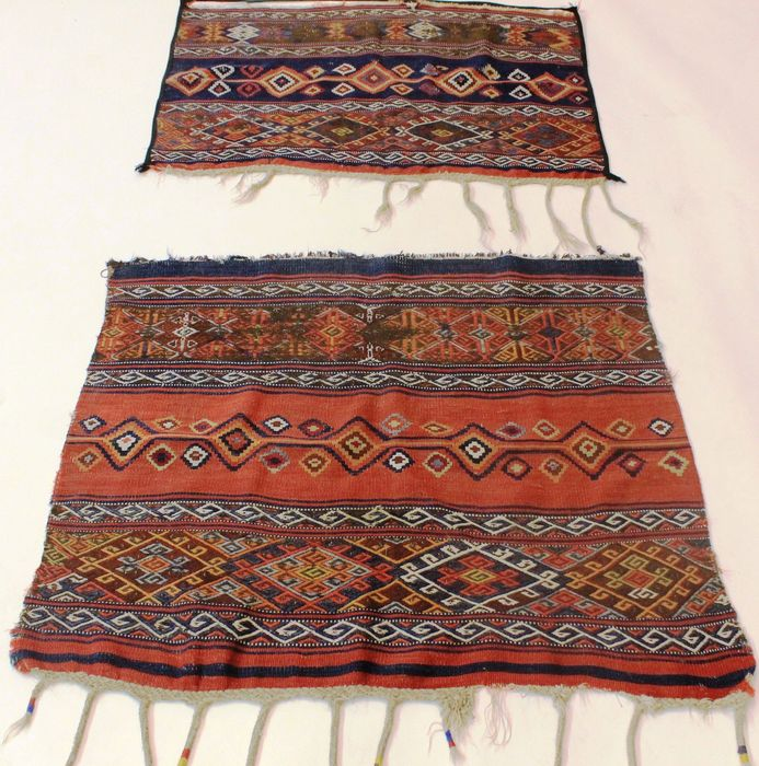 Two antique Turkish Kelims, collector's carpets, wool on wool in plant paints, around 1900, fragment, made in Turkey, 65 x 100 cm and 85 x 105 cm