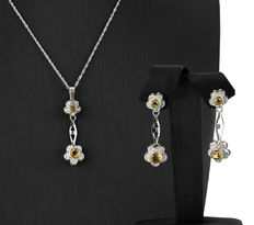 Set of choker and white gold earrings with yellow topaz and zirconias